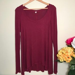 Free People Burgundy Scoop neck Tunic Top Medium